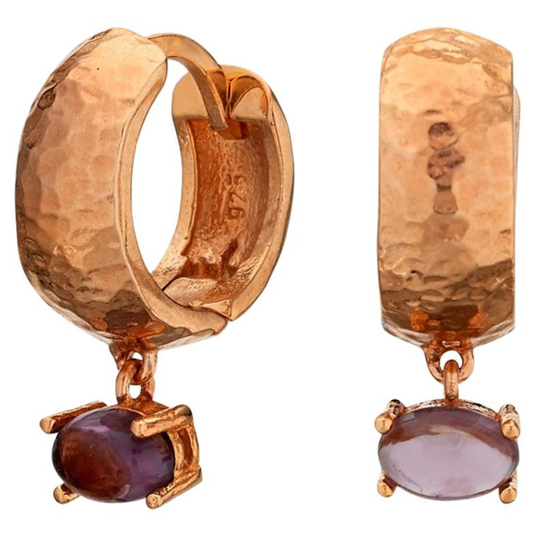 MAVIADA' s 18k Rose Gold Vermeil Bastia Mini Purple Amethyst Modern Hoop Earring For Sale