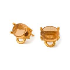 MAVIADA' s Marmaris 18k Yellow Gold Champagne Citrine Vermeil Stud Earrings