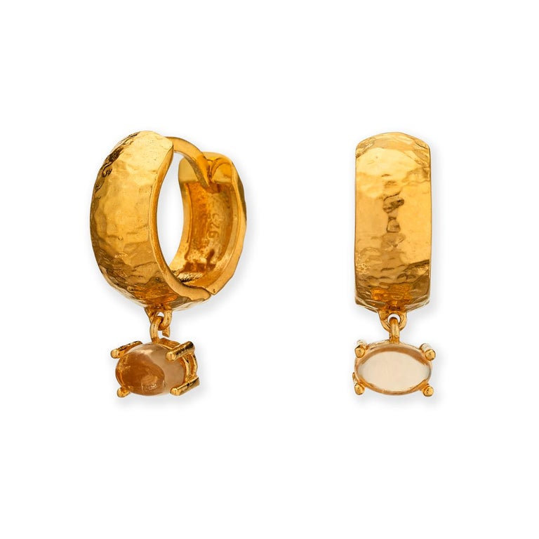 Maviada's 18 Karat Rose Gold Vermeil Bastia Mini Smoky Brown Quartz Hoop Earring For Sale 8
