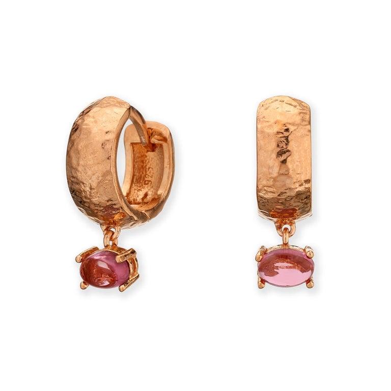 Maviada's 18 Karat Rose Gold Vermeil Bastia Mini Smoky Brown Quartz Hoop Earring For Sale 2