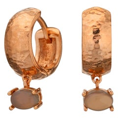 Maviada's 18 Karat Rose Gold Vermeil Bastia Mini Smoky Brown Quartz Hoop Earring