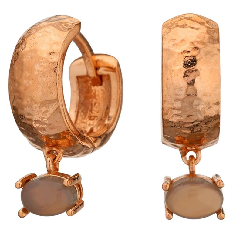 Maviada's 18 Karat Rose Gold Vermeil Bastia Mini Smoky Brown Quartz Hoop Earring For Sale