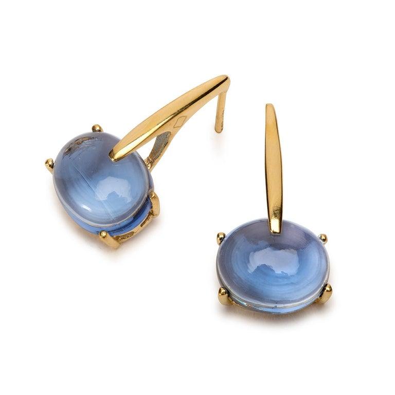 Contemporary Maviada's 18 Karat Rose Gold Vermeil Green Peridot Quartz, Gold Long Earrings