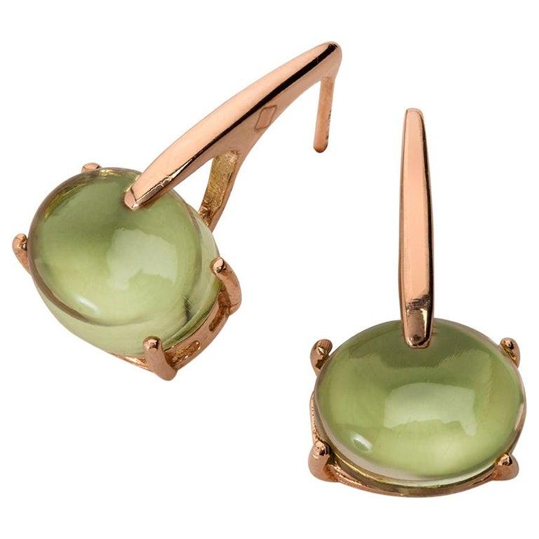 Maviada's 18 Karat Rose Gold Vermeil Green Peridot Quartz, Gold Long Earrings