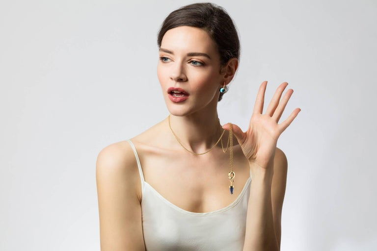 Contemporary Maviada's 18 Karat Rose Gold Vermeil London Blue Quartz, Gold Long Earrings