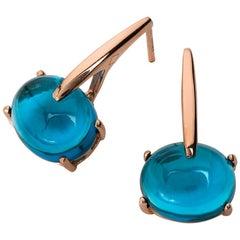 Maviada's 18 Karat Rose Gold Vermeil London Blue Quartz, Gold Long Earrings