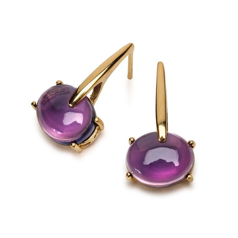 Maviada's 18 Karat Rose Gold Vermeil Purple Amethyst Quartz, Gold Long Earrings 2