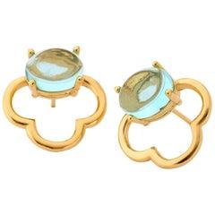 Maviada's 18 Karat Vermeil Capri Yellow Gold Aqua Blue Quartz Drop Stud Earrings