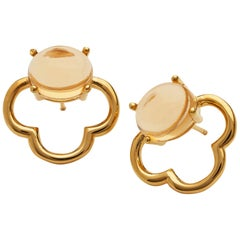Maviada's 18 Karat Vermeil Capri Yellow Gold Champagne Quartz Drop Stud Earrings