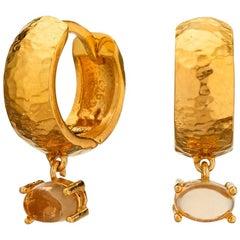 Maviada's 18 Karat Yellow Gold Vermeil Bastia Mini Champagne Modern Hoop Earring