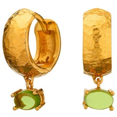 Maviada's 18 Karat Yellow Gold Vermeil Bastia Mini Green Amethyst Hoop Earring
