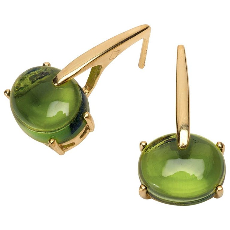 Maviada's 18 Karat Yellow Gold Vermeil Green Amethyst Quartz, Gold Long Earrings