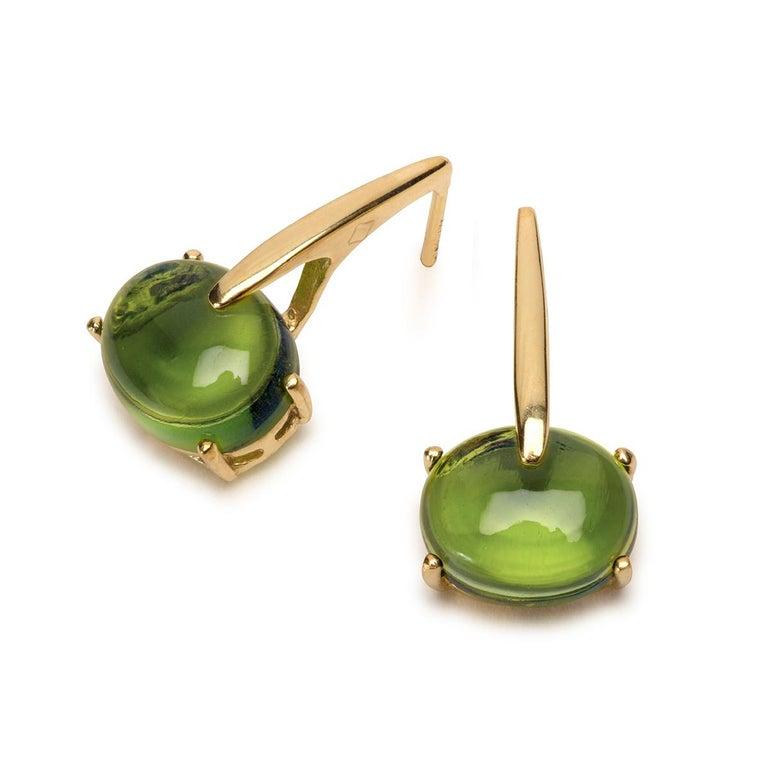 Maviada's 18 Karat Yellow Gold Vermeil Green Peridot Quartz, Gold Long Earrings 9
