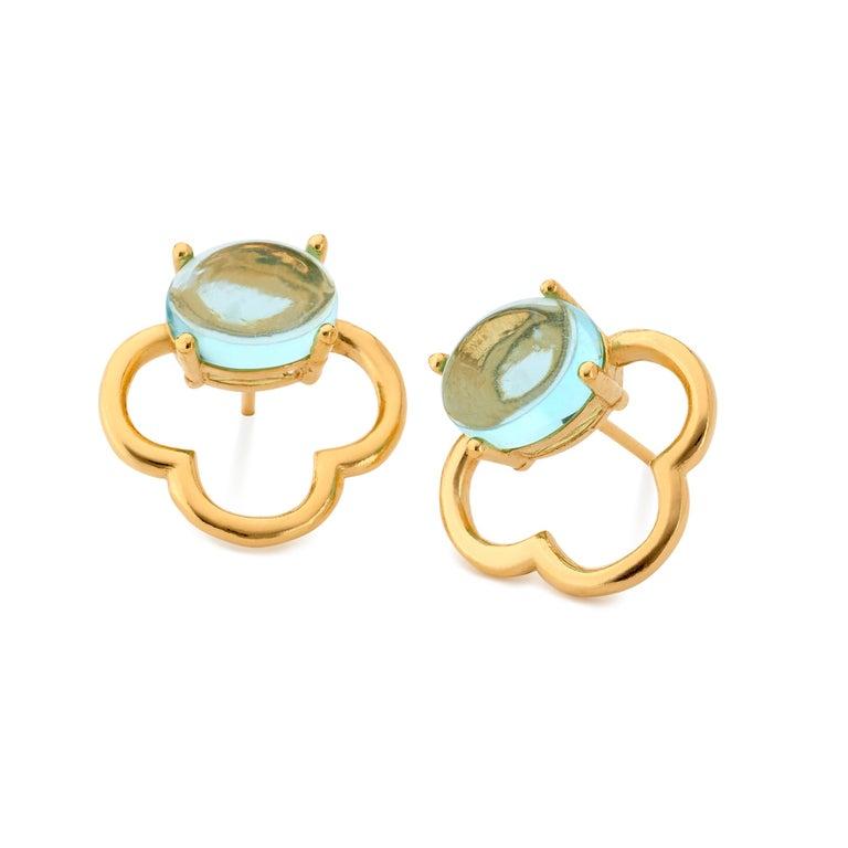 MAVIADA's 18k Vermeil Capri Rose Gold Pink Tourmaline quartz Stud Drop Earrings For Sale 10