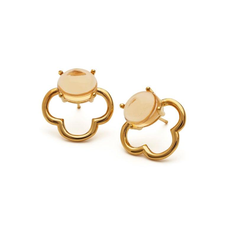 MAVIADA's 18k Vermeil Capri Rose Gold Pink Tourmaline quartz Stud Drop Earrings For Sale 11