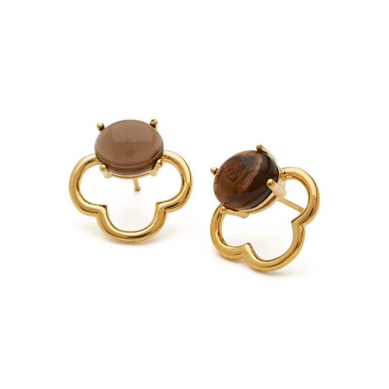 MAVIADA's 18k Vermeil Capri Rose Gold Pink Tourmaline quartz Stud Drop Earrings For Sale 12