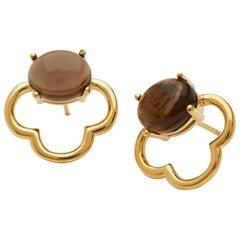 MAVIADA's 18k Vermeil Capri Yellow Gold Smoky Brown quartz Drop Stud Earrings