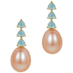 MAVIADA's 3-3mm Stone Baroque Pink Pearl Earrings, Blue Topaz, 18 K Yellow Gold