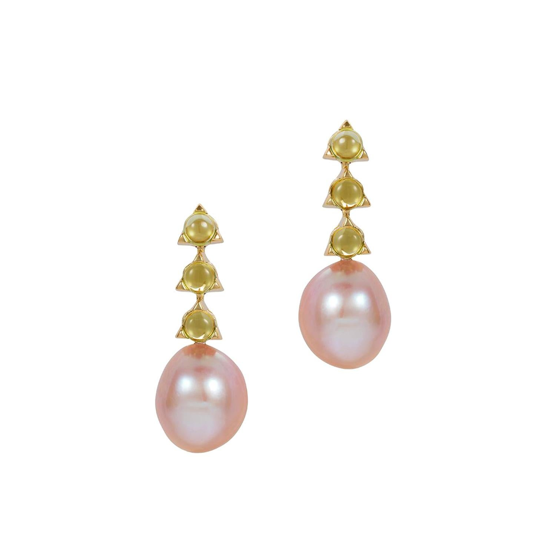 MAVIADA's 3-4mm Stone Baroque Violet Pearl Earrings, Peridot, 18 K Yellow Gold