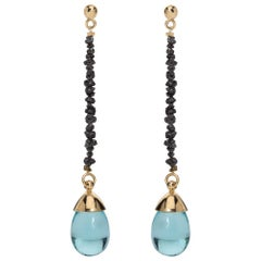 Maviada's Black Rough Cut Diamond Aqua Blue Quartz 18 Karat Gold Drop Earrings