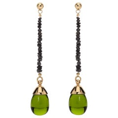 Maviada's Black Rough Cut Diamond Green Amethyst Quartz 18 K Gold Drop Earrings