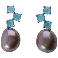 Maviada's Cavallo Baroque Grey Pearl Cabochon Blue Topaz 18k White Gold Earrings