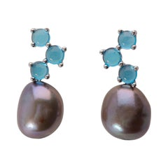 Maviada's Cavallo Grey Baroque Pearl London Blue Topaz 18 K White Gold Earrings