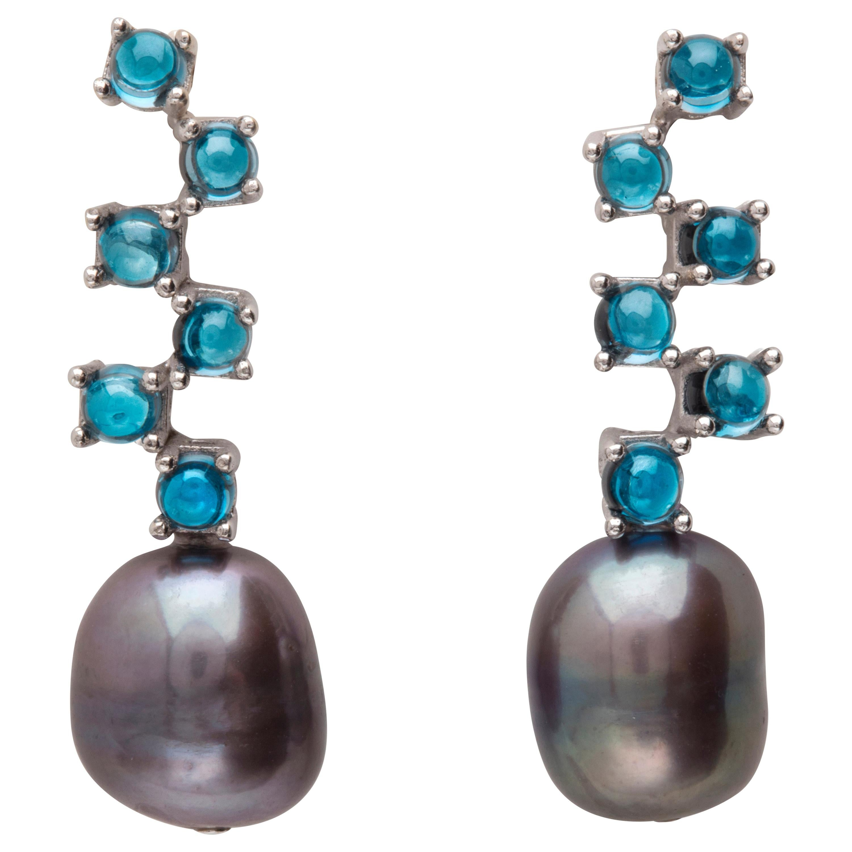 Maviada's Cavallo Long Baroque Pearl London Blue Topaz 18k Gold Drop Earrings