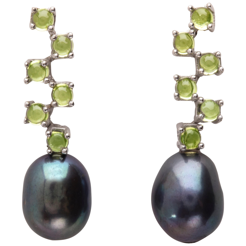Maviada's Cavallo Long Baroque Pearl Green Peridot 18k Gold Drop Earrings