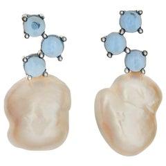 MAVIADA'S Cavallo White Baroque Pearl Cabochon Blue Topaz 18 Karat Gold Earrings