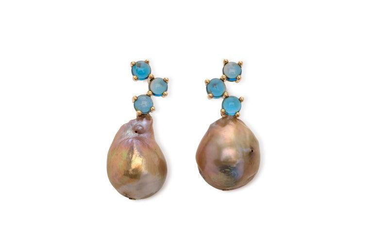 Maviada's Cavallo White Baroque Pearl London Blue Topaz 18k Yellow Gold Earrings In New Condition For Sale In , GB