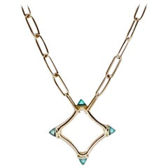 Maviada's Color Logo Chain Necklace in 18k Gold, Reverse Cut London Blue Topaz