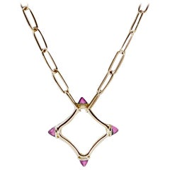 Maviada's Color Logo Chain Necklace in 18k Gold, Reverse Cut Pink Tourmaline