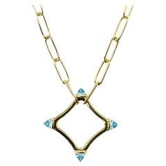 Maviada's Color Logo Chain Necklace in 18k Gold, Reverse Cut, Sky Blue Topaz