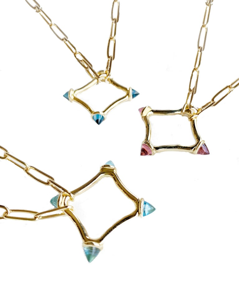 Chain link necklaces are so in style now and Maviada's colour large logo chain necklace, exclusive to Maviada, in luxurious 18k solid gold, is the best necklace offering colour, style and sophistication.  These necklaces have a wonderful substantial