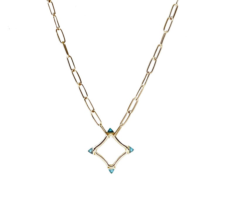 Bullet Cut Maviada's Color Logo Chain Necklace in 18 Karat Gold, Reverse Cut Sky Blue Topaz For Sale