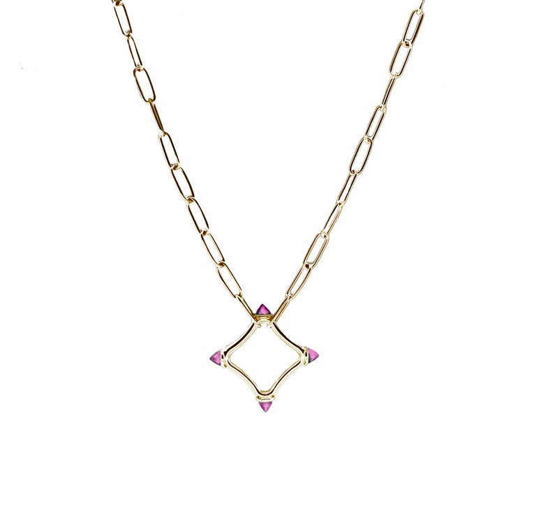 Maviada's Color Logo Chain Necklace in 18 Karat Gold, Reverse Cut Sky Blue Topaz In New Condition For Sale In , GB
