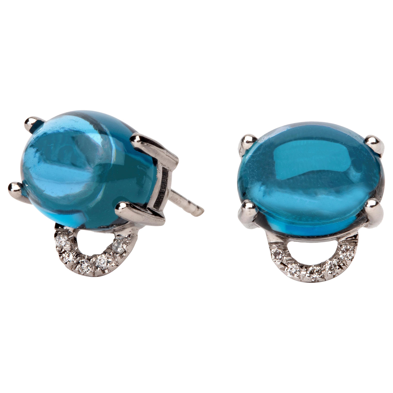 Maviada's Diamond Marmaris 18 Karat Gold Stud Earrings, London Blue Topaz