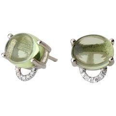 Maviada's Diamond Marmaris 18 Karat Gold Stud Earrings, Pale Green Peridot