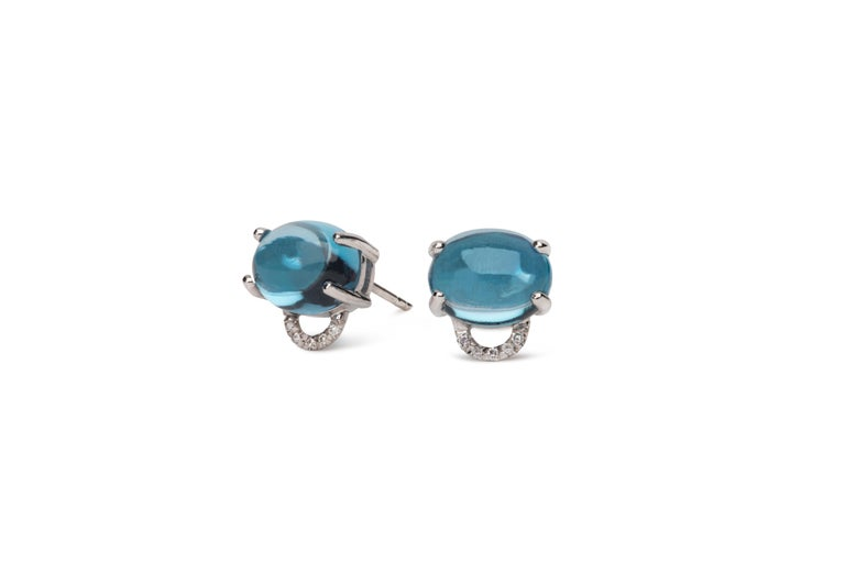 These petite luxurious diamond classic studs are great for everyday. Just put them on and get on with your day. These measure 10x10mm in total with a 2mm deep horsebit setting with pave diamonds and a beautiful cabochon natural gemstone that