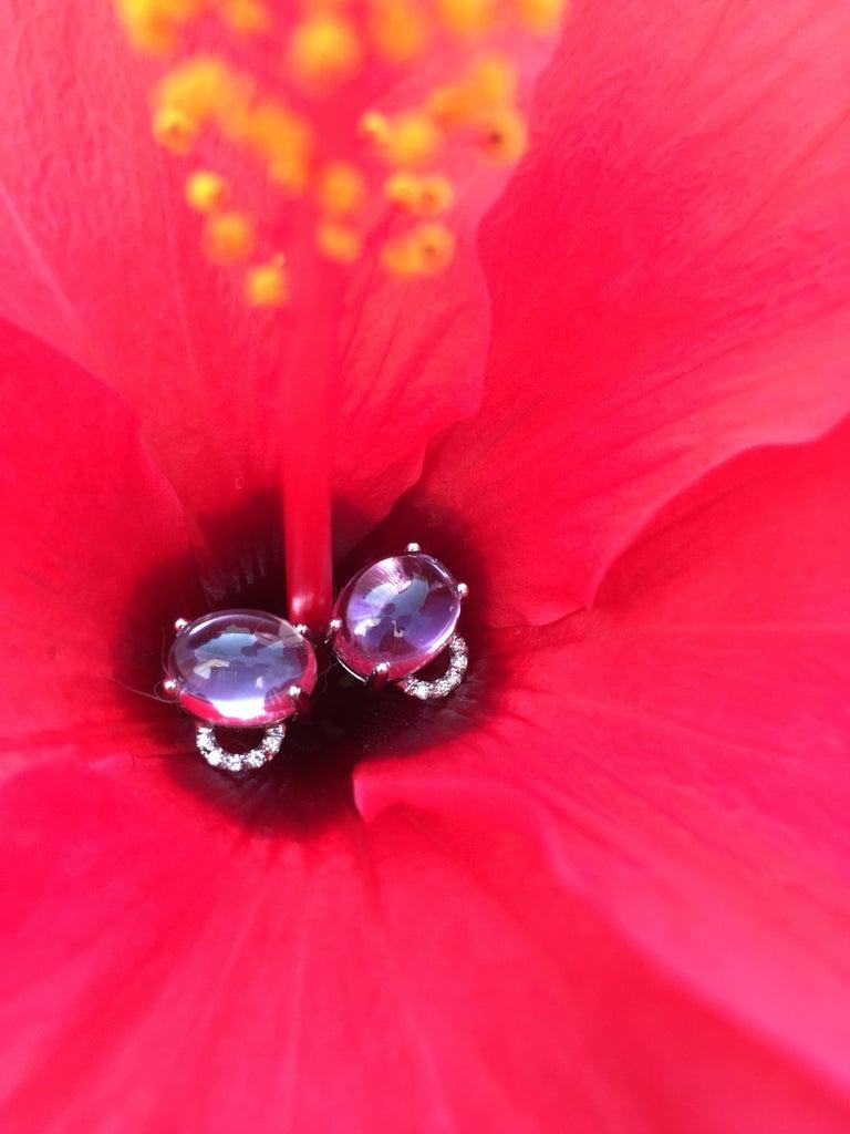 Oval Cut Maviada's Diamond Marmaris 18 Karat Gold Stud Earrings, Sky Blue Topaz For Sale