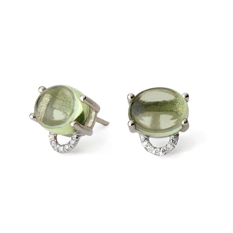 Women's or Men's Maviada's Diamond Marmaris 18 Karat Gold Stud Earrings, Sky Blue Topaz For Sale