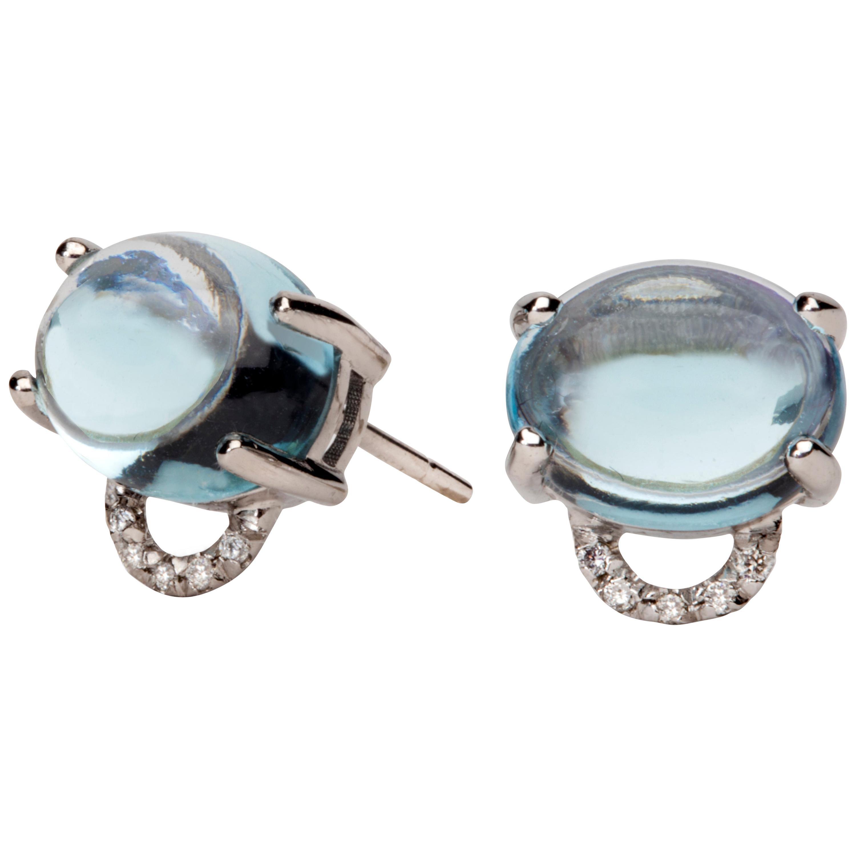 Maviada's Diamond Marmaris 18 Karat Gold Stud Earrings, Sky Blue Topaz