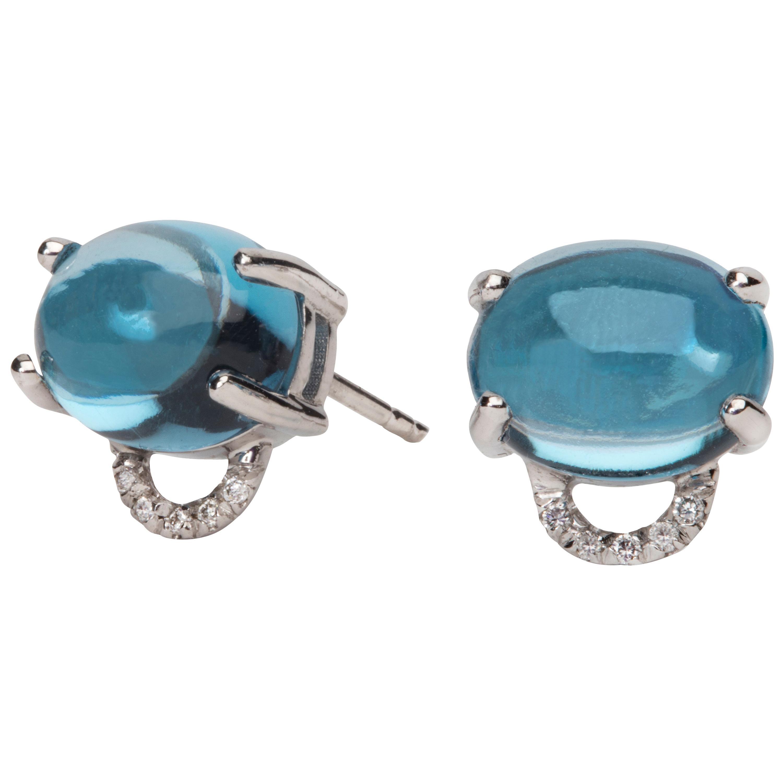 Maviada's Diamond Marmaris 18 Karat Gold Stud Earrings, Swiss Blue Topaz