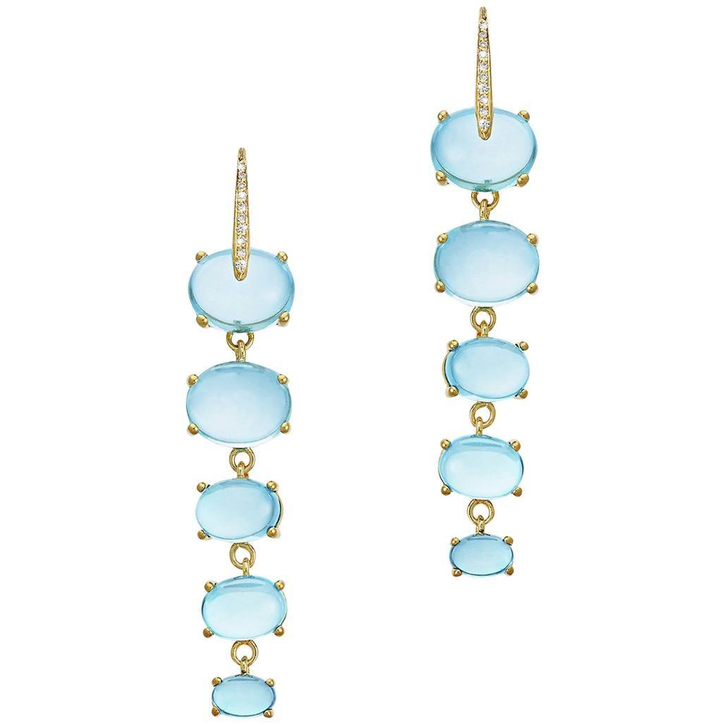 Maviada's Diamond Sardinia 18 Karat Yellow Gold Rainbow Blue Topaz Drop Earrings
