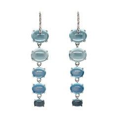 MAVIADA's Diamond Sardinia 18k White Gold Rainbow Blue Topaz Drop Earrings