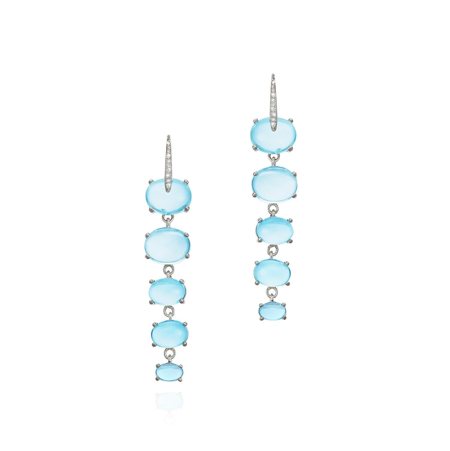 MAVIADA's Diamond Sardinia 18K White Gold Rainbow Blue Topaz Drop Earrings