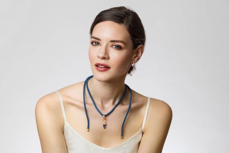 MAVIADA's Diamond Sardinia Sky Blue Topaz 18 Karat White Gold Drop Day Earrings In New Condition For Sale In , GB