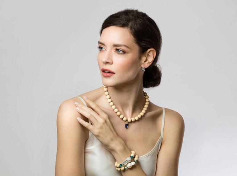 MAVIADA's Diamond Sardinia Swiss Blue Topaz 18 Karat White Gold Drop Earrings For Sale 3