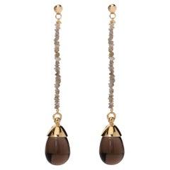 Maviada's Grey Rough Cut Diamond Smoky Brown Quartz 18 Karat Gold Drop Earrings